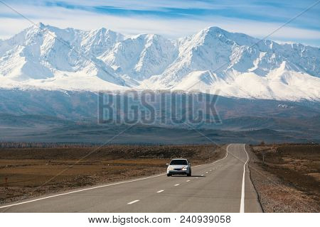 Chuya highway and mountain North-Chuya ridge, Altai mountains, Russia.