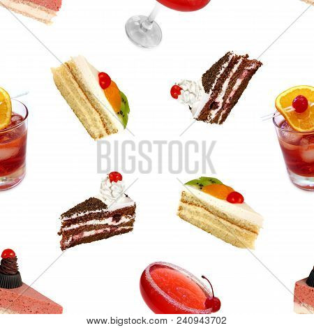 Seamless Pattern. Cakes And Cocktails On A White Background.