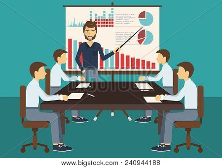 Business Meeting, Presentation Or Conference In Office. Business People Discussing About Business Pl