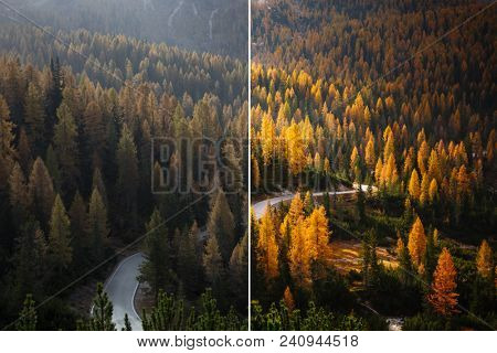 Beautiful scene of alps road. Location National Park Tre Cime di Lavaredo, Dolomiti alp, Italy, Europe. Image before and after. Original or retouch. Photo in half of editing process. Beauty of earth. poster