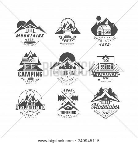 Mountain, Expedition Logo Set, Camping, Trekking Retro Badges In Monochrome Style Vector Illustratio
