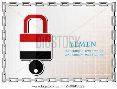 Lock Logo Made From The Flag Of Yemen