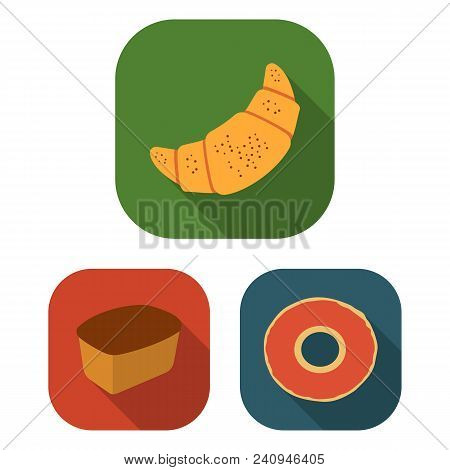 Types Of Bread Flat Icons In Set Collection For Design. Bakery Products Vector Symbol Stock  Illustr