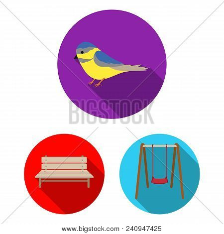 Park, Equipment Flat Icons In Set Collection For Design. Walking And Rest Vector Symbol Stock  Illus