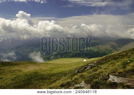 Amazing Nature Landscape View On A Valley From Mountain Peak. Sky And Mountain Natural Landscape. Na