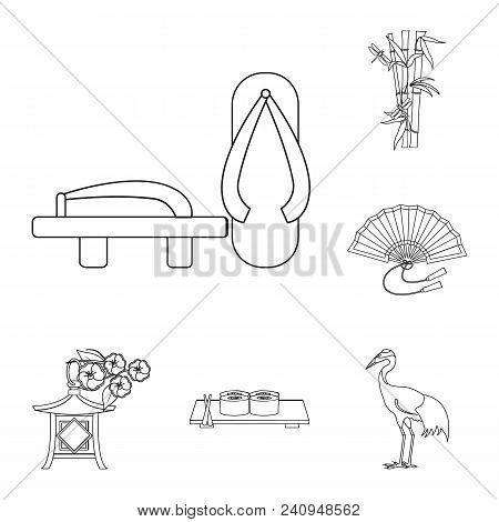 Country Japan Outline Icons In Set Collection For Design.japan And Landmark Vector Symbol Stock  Ill