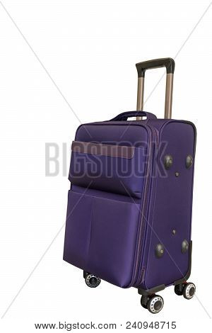 Purple Travel Suitcase On Four Wheels On A White Background. Isolate. Voyage With Big Suitcase