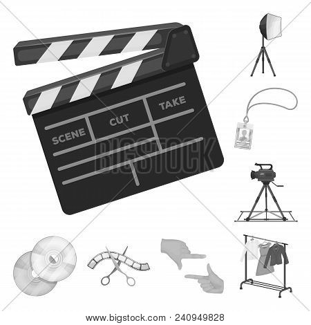 Making A Movie Monochrome Icons In Set Collection For Design. Attributes And Equipment Vector Symbol