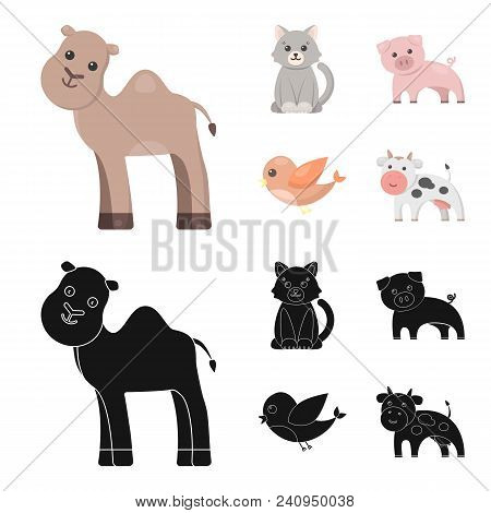 An Unrealistic Cartoon, Black Animal Icons In Set Collection For Design. Toy Animals Vector Symbol S