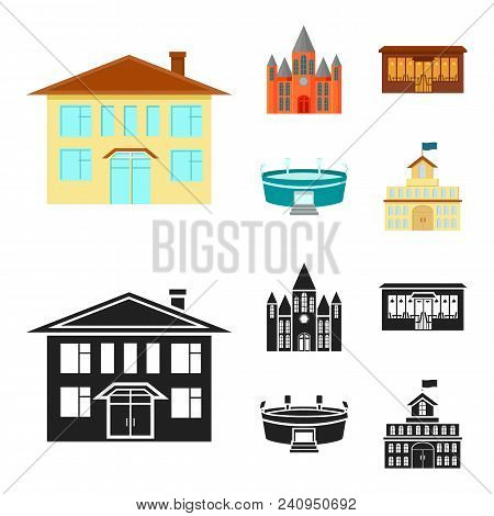House Of Government, Stadium, Cafe, Church.building Set Collection Icons In Cartoon, Black Style Vec