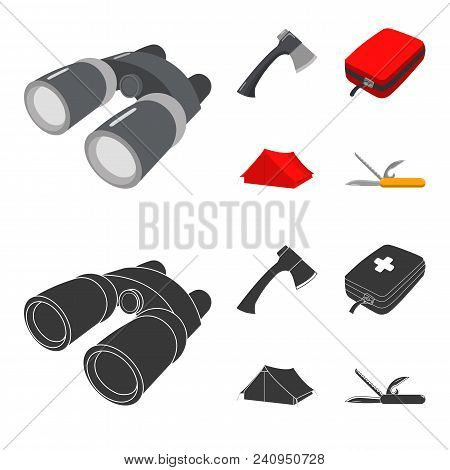 Ax, First-aid Kit, Tourist Tent, Folding Knife. Camping Set Collection Icons In Cartoon, Black Style