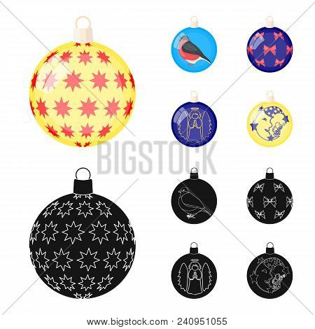 New Year Toys Cartoon, Black Icons In Set Collection For Design.christmas Balls For A Treevector Sym