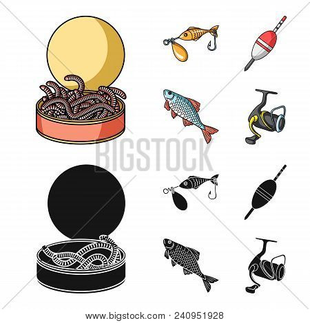 Fishing, Fish, Catch, Hook .fishing Set Collection Icons In Cartoon, Black Style Vector Symbol Stock