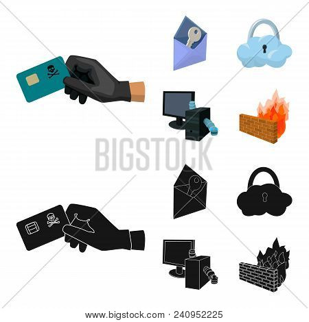 System, Internet, Connection, Code .hackers And Hacking Set Collection Icons In Cartoon, Black Style