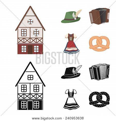 Tyrolean Hat, Accordion, Dress, Pretzel. Oktoberfestset Collection Icons In Cartoon, Black Style Vec