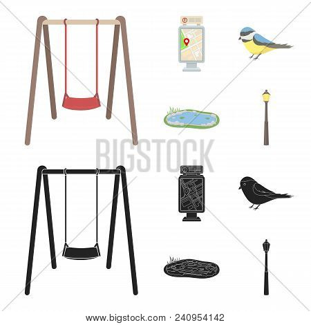 Territory Plan, Bird, Lake, Lighting Pole. Park Set Collection Icons In Cartoon, Black Style Vector