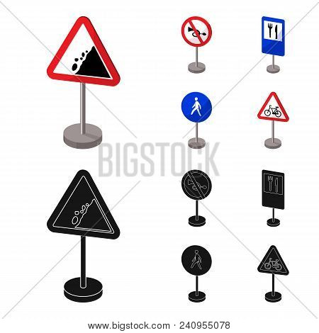 Different Types Of Road Signs Cartoon, Black Icons In Set Collection For Design. Warning And Prohibi