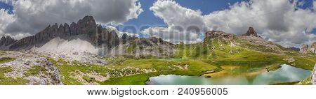 High Mountain View Of The Bden Lake Side, At The Paternkofel, Sextner Stone And The Toblinger Knot I