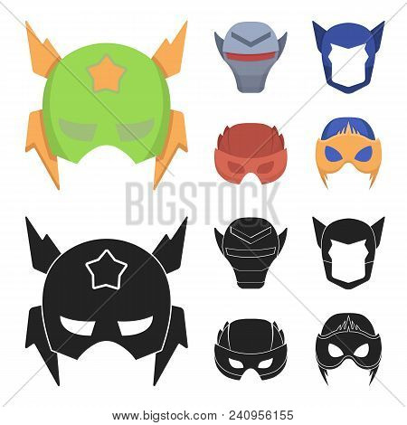 Helmet, Mask On The Head.mask Super Hero Set Collection Icons In Cartoon, Black Style Vector Symbol