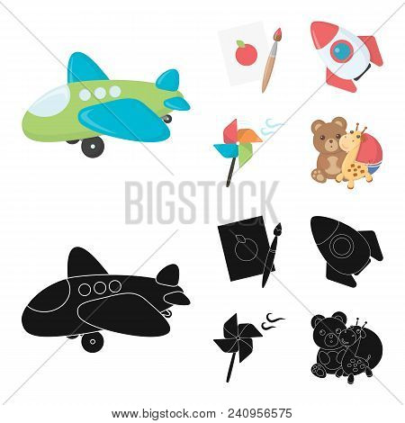 Children Toy Cartoon, Black Icons In Set Collection For Design. Game And Bauble Vector Symbol Stock