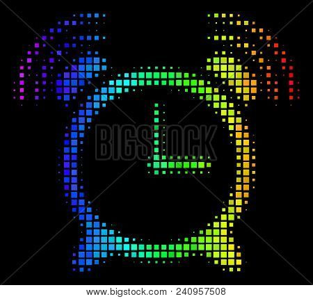 Dotted Impressive Halftone Buzzer Icon Using Spectral Color Hues With Horizontal Gradient On A Black