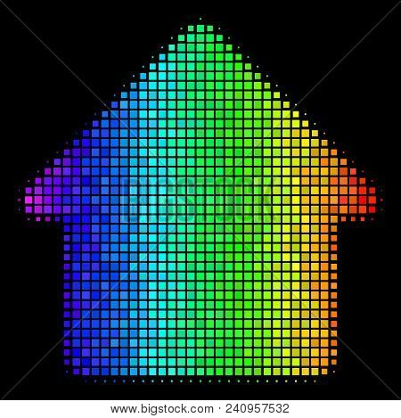 Pixel Bright Halftone Cabin Icon In Rainbow Color Tinges With Horizontal Gradient On A Black Backgro