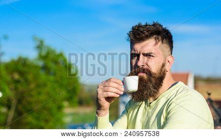 Bearded Man With Espresso Mug, Drinks Coffee. Coffee Break Concept. Man With Long Beard Looks Strict