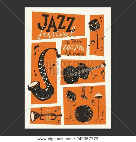 Vector Jazz Festival Poster Template. Saxophone, Double Bass, Piano, Trumpet, Bass Drum And Snare Dr