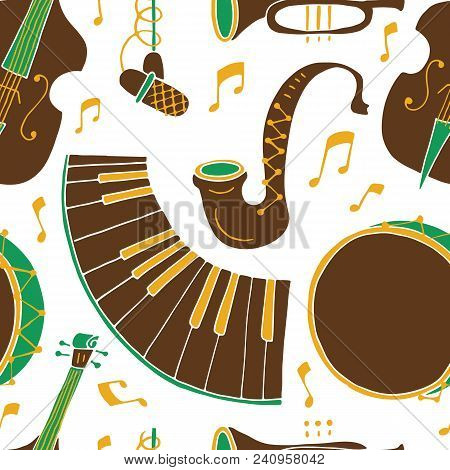 Seamless Pattern With Music Instruments - Trombone, Trumpet, Double Bass, Saxophone, Bass Drum And S