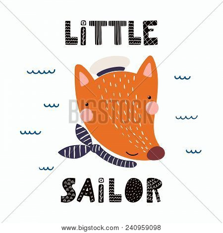 Hand Drawn Vector Illustration Of A Cute Funny Fox Sailor In A Cap And Neckerchief, With Lettering Q