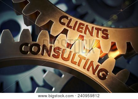 Clients Consulting On Mechanism Of Golden Metallic Cogwheels. Clients Consulting - Illustration With