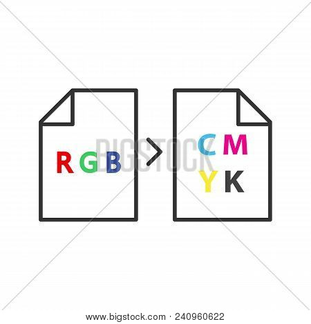 Color Models Conversion Icon. Rgb Color Model Conversion To Cmyk. Isolated Vector Illustration