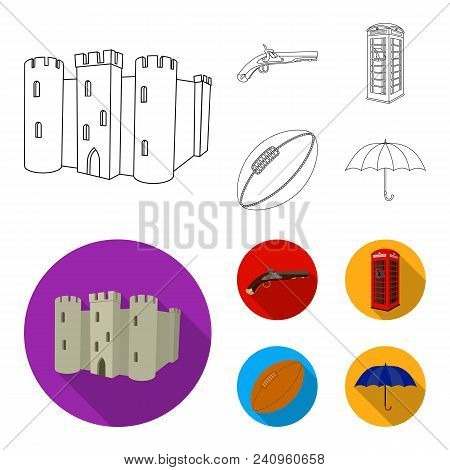 Breed, Dog, Teapot, Brewer .england Country Set Collection Icons In Outline, Flat Style Vector Symbo