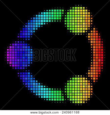 Dot Bright Halftone Cooperation Icon Using Spectrum Color Hues With Horizontal Gradient On A Black B