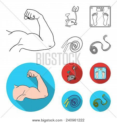 Biceps, Exercise Bike, Scales For Weighing, Skalka. Fitnes Set Collection Icons In Outline, Flat Sty