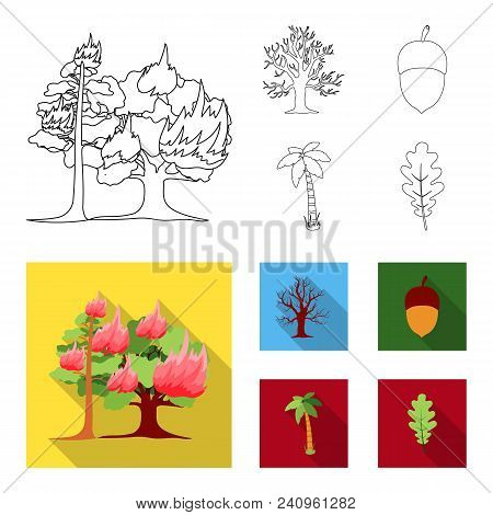 Burning Tree, Palm, Acorn, Dry Tree.forest Set Collection Icons In Outline, Flat Style Vector Symbol