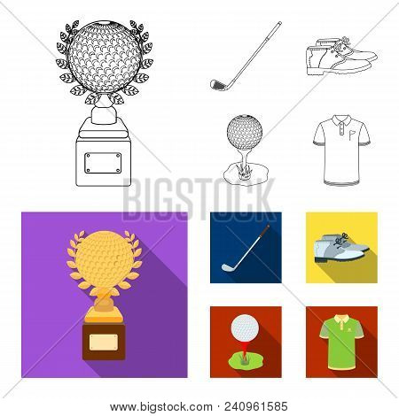 Cup, Golf Club, Ball On The Stand, Golfer Shoes.golf Club Set Collection Icons In Outline, Flat Styl