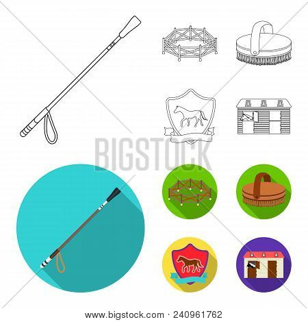 Aviary, Whip, Emblem, Hippodrome .hippodrome And Horse Set Collection Icons In Outline, Flat Style V