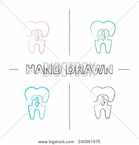 Dental Crown With Down Arrow Hand Drawn Icons Set. Tooth Restoration. Color Brush Stroke. Isolated V