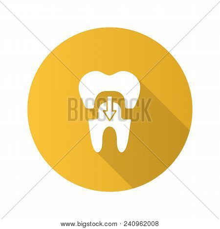 Dental crown with down arrow flat design long shadow glyph icon. Tooth restoration. Vector silhouette illustration poster
