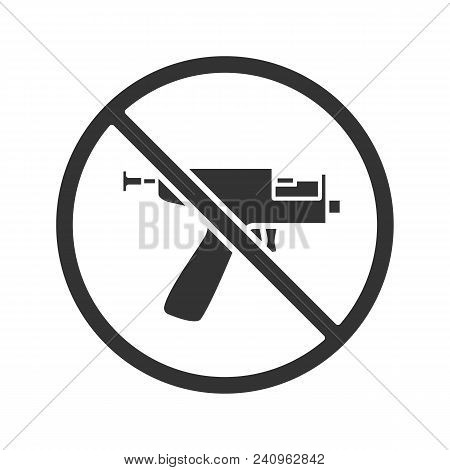 Forbidden Sign With Piercing Gun Glyph Icon. No Ear Piercing Instruments Prohibition. Silhouette Sym