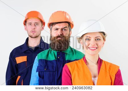 Different People In Team Of Architects, Labourers, Builders, Strict And Smiling Faces, Isolated Whit