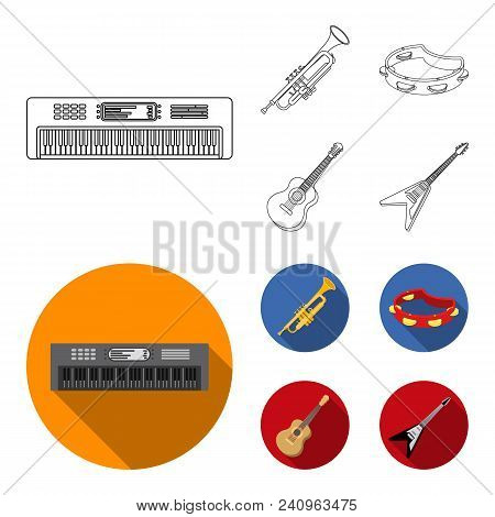 Electro Organ, Trumpet, Tambourine, String Guitar. Musical Instruments Set Collection Icons In Outli