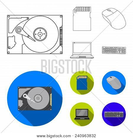 Computer Mouse, Laptop And Other Equipment. Personal Computervset Collection Icons In Outline, Flat