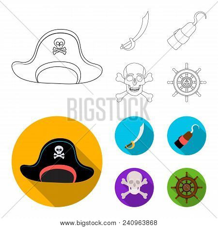 Pirate, Bandit, Cap, Hook .pirates Set Collection Icons In Outline, Flat Style Vector Symbol Stock I