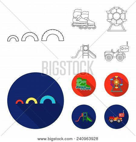 Ferris Wheel With Ladder, Scooter. Playground Set Collection Icons In Outline, Flat Style Vector Sym