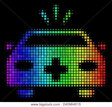 Dot Colorful Halftone Emergency Car Icon Drawn With Rainbow Color Shades With Horizontal Gradient On