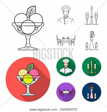 Ice Cream With Fruit, Chef, Candle And Glasses, A Covered Table.restaurant Set Collection Icons In O
