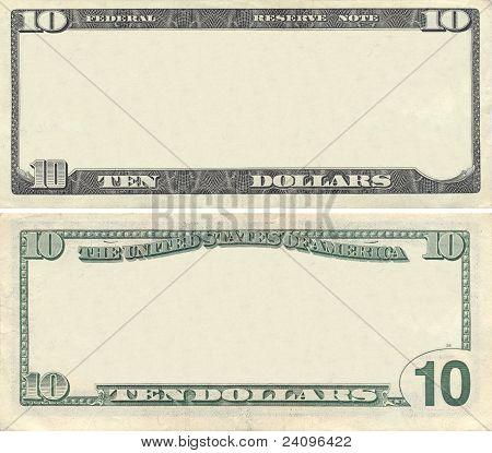 Clear 10 Dollar Banknote Pattern