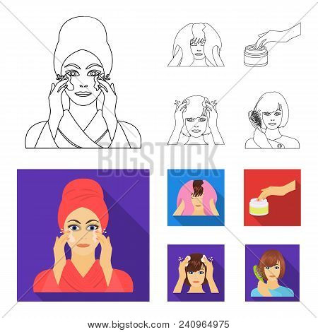 Cosmetic, Salon, Hygiene, And Other  Icon In Outline, Flat Style. Napkin, Hygienic, Hairdresser Icon